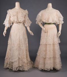 Dinner Gowns, Evening Gowns, Tea Gown, Business Checks, Historical Clothing, Cream, Lace, Evening Dresses, Chowder