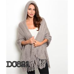Hooded Shawl With Fringe 4 Colors The classic cable knit shawl featuring a hoodie and fringe detail. Soft knit fabric. Great addition to any wardrobe! Available in grey, jade, black and red. Brand new without tags. One size fits most Accessories Scarves & Wraps