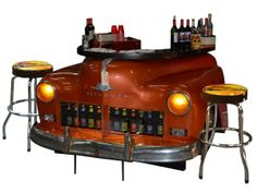 1950 Plymouth Bar with Stools Man Cave Furniture, Car Part Furniture, Automotive Furniture, Automotive Decor, Furniture Making, Furniture Design, Rat Rods, Car Part Art, Old Car Parts