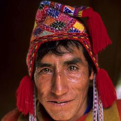 Peruvian wearing his chullo.