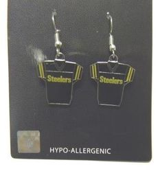 Pittsburgh Steelers Jersey Dangle Earrings -- Click on the image for additional details.