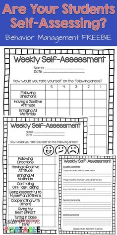 Put weekly assessing in the hands of the students with this FREE Weekly Self-Assessment. Great for helping with student behavior. Totally helped with parent communication!