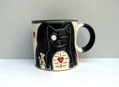 Zombie Cat Mug With Undead Rat, Black And White with Hearts, Coffee Mug or Tea Mug, Animal Pottery, Zombie Love