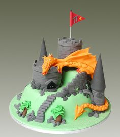 Dragon Castle Cake - I like the layout of this cake - would probably change the dragon's head though - it doesn't look quite right :)
