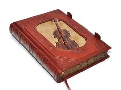 Large leather journal Vintage Violin antique style with by dragosh, $420.00