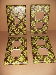 Brown and Green Damask Single Light Switch by COUTURELIGHTPLATES, $12.00