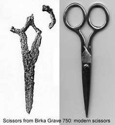 Scissors found in Birka, Sweden Grave 750 side by side with a very similar modern pair.