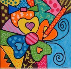 Fika a Dika - For a Better World: Romero Brito Tips Folk Art Flowers, Flower Art, Doodle Art, Arte Country, Arte Popular, Disney Wallpaper, Whimsical Art, Diy Art, Sculpture Art