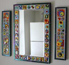 Mosaico arte espejo vidrio abstracto colorido por GlassArtsStudio