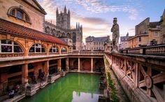 The Roman Baths, the ancient mineral spring around which the town of Bath was built.