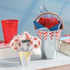 Nautical Buckets - OrientalTrading.com. Would be so easy to make these!