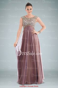 Divine Chiffon Empire A-line Evening Gown Highlighted with Glittering Beaded Bodice