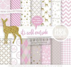 https://www.etsy.com/mx/listing/564049507/fondos-navidad-beige-rosa-palido-palo #deer #christmas #babyitscoldoutside #pinkandgold #greetingcards #gifttags #patterns #babies