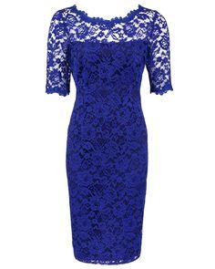 Anthea Crawford - Lapis Stretch Lace Sheath Dress Image Style No MYO1453