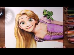 Rapunzel and Pascal (Tangled) - Colored pencil drawing | drawholic - YouTube
