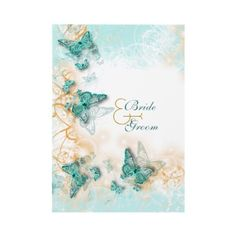 Butterfly theme wedding aqua gold custom invites by mensgifts