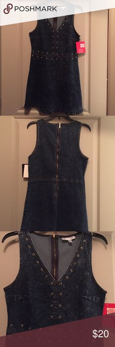 Fitted Mini Denim Dress with open studs NWT Fitted dark denim mini dress with eye catching open stud detailing, lots of stretch for the perfect fit with a slight flare; can easily go from playful to sexy NWT Marilyn Monroe Macy's Dresses Mini