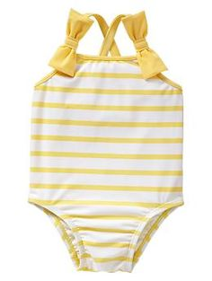 Striped bow one-piece
