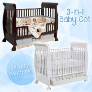 3-in-1 Wooden Baby Sleigh Cot with Mattress A sophisticated multifunctional bedspace that fits your baby's sleeping needs till they are old enough to choose one for themselves  Now only $299