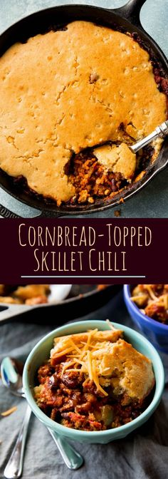 Cornbread and chili made in ONE PAN! Ultimate comfort food on sallysbakingaddic...