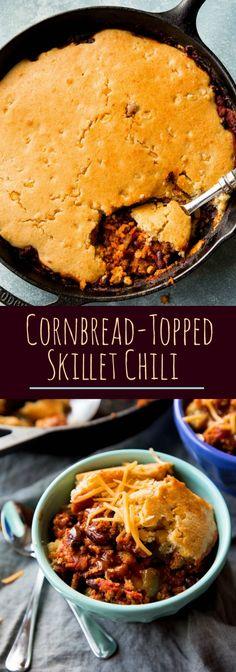 Cornbread and chili made in ONE PAN! Ultimate comfort food on sallysbakingaddic...
