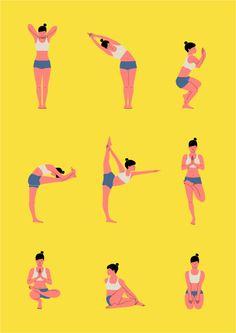 A series of Bikram Yoga positions. Bikram Yoga, Ashtanga Yoga, Shinigami, Yoga Information, Restorative Yoga Poses, Yoga Festival, Yoga Illustration, Bali, Clinic Design