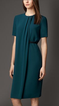 Satin-Back Crepe Pleat Detail Dress | Burberry