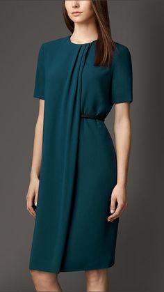 Satin-Back Crepe Pleat Detail Dress   Burberry