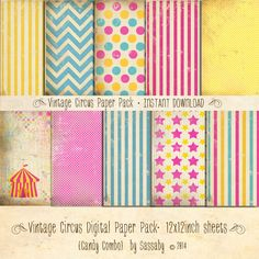 Vintage Circus Paper Pack 10 Digital Sheets Candy Combo - INSTANT DOWNLOAD - Scrapbooking Card Making Birthday Party Decoration by Sassaby