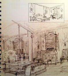 Interior - Albert Hadley sketch of Elsie de Wolfe's bedroom Interior Design Renderings, Interior Rendering, Interior Sketch, Albert Hadley, Elsie De Wolfe, American Interior, Entertainment Center Kitchen, Diy Tv, Vintage World Maps
