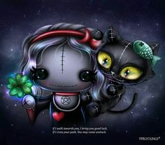 Frightlings: Scarlet Witchling and Asher Catling with Good Luck Clover Halloween Kunst, Halloween Artwork, Halloween Drawings, Anime Chibi, Manga Anime, Art Emo, Goth Art, Voodoo Doll Tattoo, Voodoo Dolls