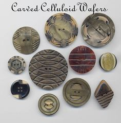 Celluloid Wafer Buttons by YaddaYaYa, via Flickr