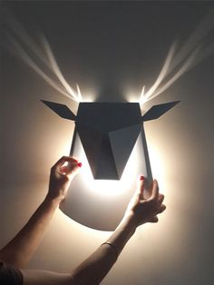 Silver Aluminium Deer Head LED Wall Light by Popup Lighting