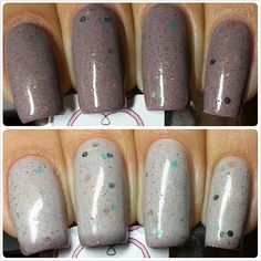 Such a pretty and unique thermal polish!!!!   Full Size 13.2 Nude Brown Thermal Glitter Nail door NovelNailPolish, $10.00