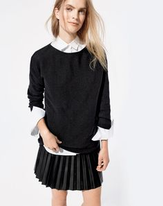 J.Crew women's Italian cashmere boatneck tunic, Thomas Mason® for J.Crew boy shirt in white and faux-leather pleated mini skirt.