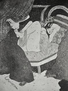 GRAVURE / EAU-FORTE / Collection BigNana / Jeune femme et son hérisson détail 1    https://www.etsy.com/fr/shop/CFTurcas