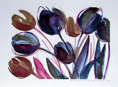 Anne Kimiläinen: Tulppaanit-Tulips, watercolour, 2019
