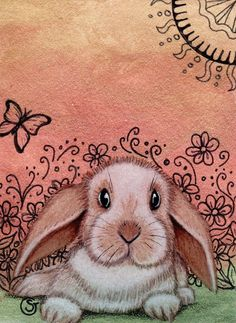 Rabbit Dutch Lop Bunny Watercolor Signed Giclee Print ACEO Art Zentangle Goeben   eBay