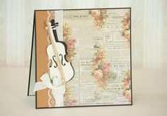Floral Paper Musical Handmade Greeting Card with Cello -  has a Matching Envelope