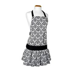 Flirty Aprons Women's Sadie Damask Black Apron Flirty Aprons