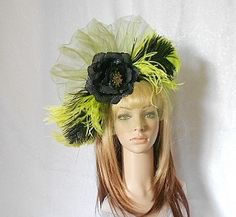 Green And Black Flower and Ostrich Feather Fascinatorby IrmasElegantBoutique on Etsy