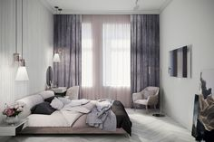 Apartment for Julia on Behance Elegant Woman, Curtains, Bed, Room, House, Home Decor, Behance, Decor Ideas, Elegant