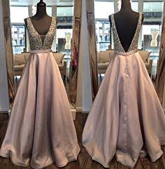 Champagne Prom Dresses,V-Neck Beaded Prom Dresses,Satin Prom Dresses,Long