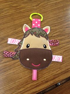 Horse Tag Toy horse baby toy crinkle toy infant by EmbroiderMe2, $10.00