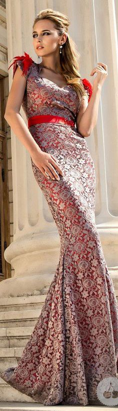 i like the red accent.. maybe with a champagne color instead of white. Long formal dress. White lace over red silk.