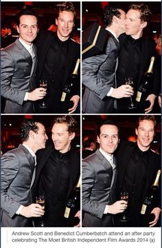 """❤️ Have they all been in a """"flirty mood"""" during the party? Benedict Cumberbatch and Andrew Scott. Forgot the Sherlock kiss, Andrew, it was not real!!!!"""