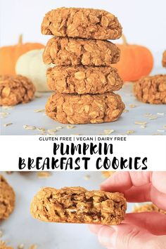healthy Pumpkin Breakfast Cookies make a nutritious and grab-and-go breakfast that tastes like fall! This gluten-free and vegan breakfast treat is made with rolled oats, cashew butter, pumpkin puree and maple syrup. They are so easy and so hardy! Bon Dessert, Dessert Recipes, Brunch Recipes, Pumpkin Recipes, Fall Recipes, Healthy Pumpkin Desserts, Pumpkin Breakfast Cookies, Healthy Breakfast Cookies, Pumpkin Oatmeal Cookies
