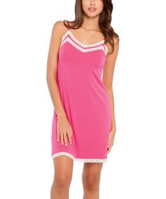 0f54711588 This lace-trim chemise is in the pink of sleepwear style. A touch of