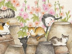 오늘도 숨바꼭질.. Cute Illustration, Watercolor Illustration, Watercolor Art, Cute Paintings, Princess Drawings, Animal Sketches, Cat Drawing, Disney Drawings, Whimsical Art