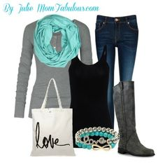 Infinity scarf with gray shirt, jeans, purse, bracelet, and boots